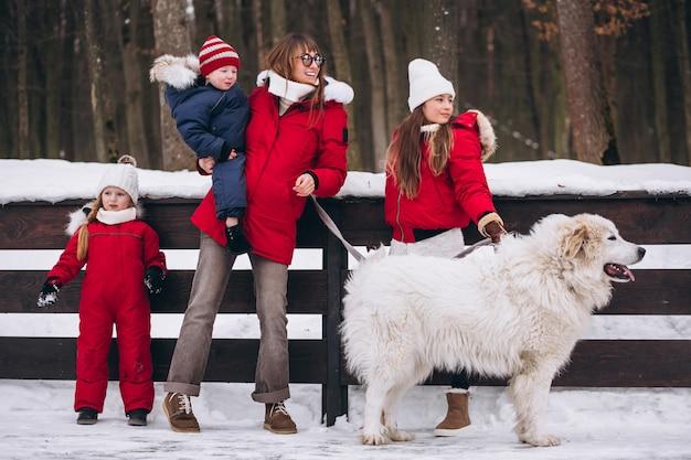 子供と冬の外で遊ぶ犬を持つ母