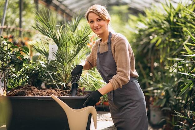 温室の女性ガードナー