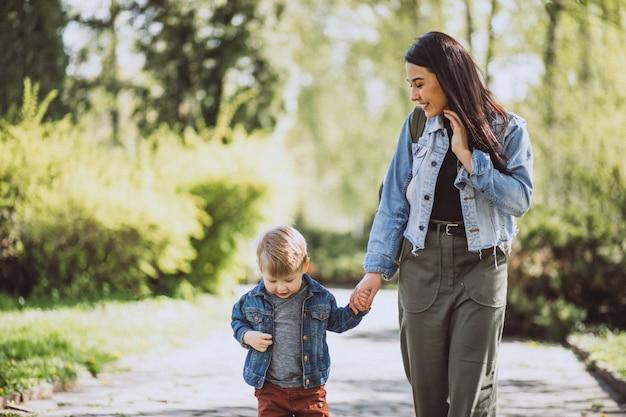 公園で楽しんでいる彼女の幼い息子を持つ母