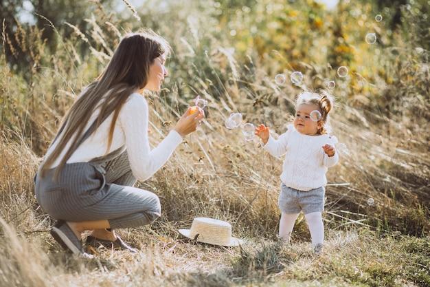 公園でシャボン玉を吹く小さな赤ん坊の娘を持つ母