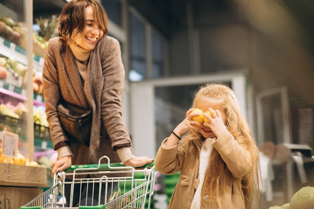 Мать с дочерью в продуктовом магазине