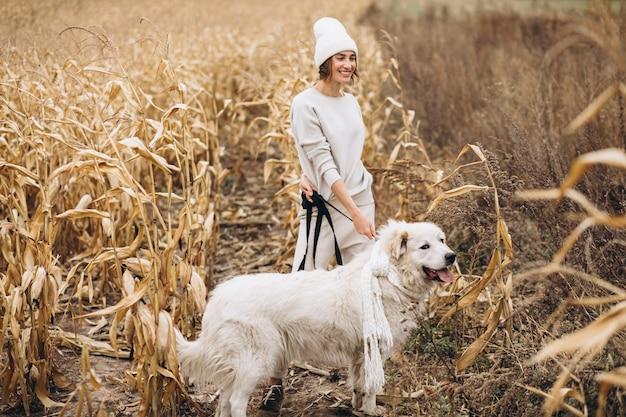 フィールドで彼女の犬を出て歩いて美しい女性