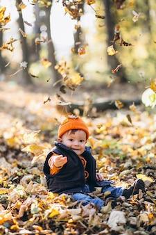 秋の公園で小さなかわいい男の子
