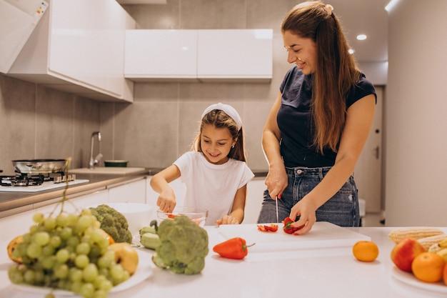 Мать с маленькой дочкой, вместе готовить на кухне