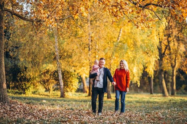 秋の公園を歩いて赤ちゃんの娘と家族