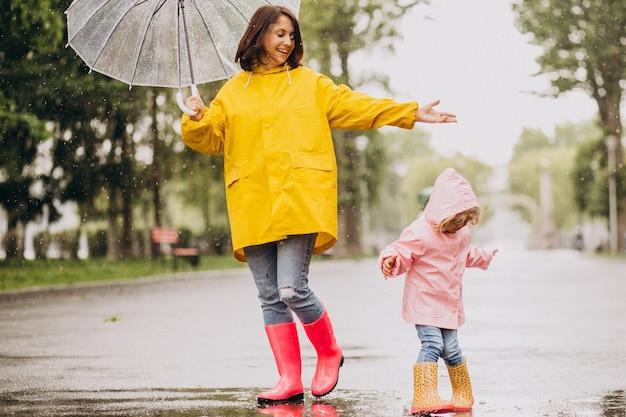 Мать с дочерью гуляют под дождем под зонтиком