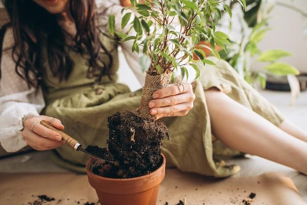 若い女性が自宅で植物を栽培