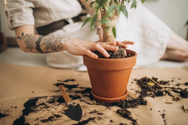 Молодая женщина выращивает растения в домашних условиях