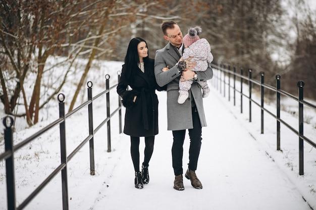 赤ん坊の娘と冬の公園の家族