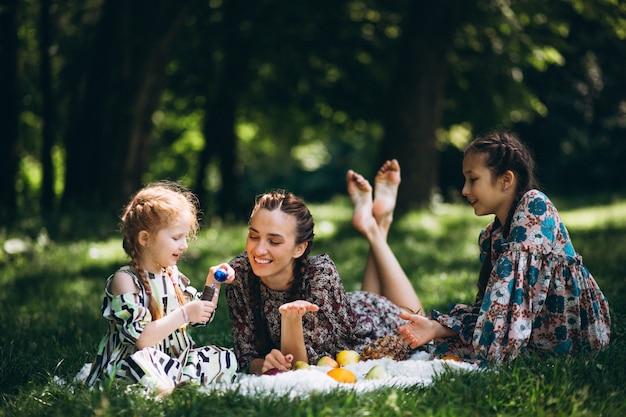 フルーツと泡のある家族のピクニック
