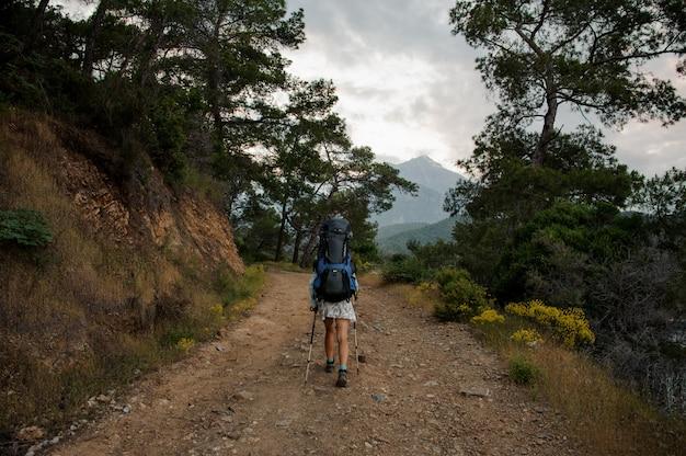 木と岩の間で未舗装の道路の上を歩いてバックパックとハイキングスティックを持つ背面ビュー女性