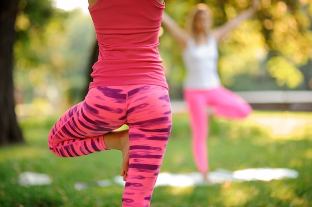 ヨガの練習をしているピンクのスポーツウェアに身を包んだ女性の後ろ姿のクローズアップ