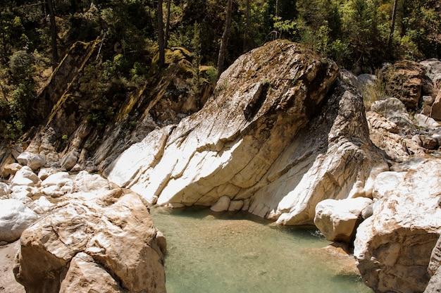 ギョイヌク渓谷の岩の間の小さな池