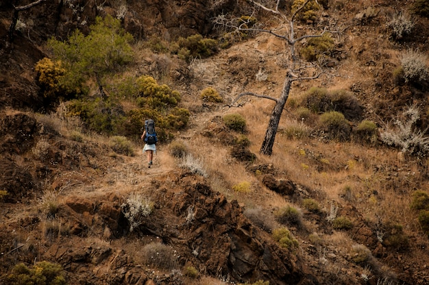バックパックで女性ハイカーが丘を旅します。