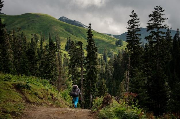 バックパックとスティックをハイキングで丘を歩いている男