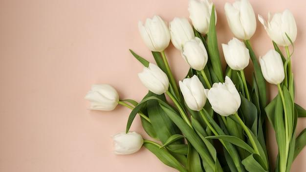 新鮮な春の白いチューリップの花束
