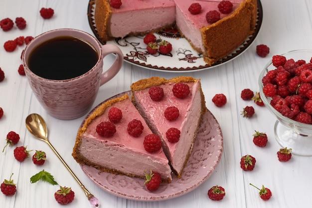 ラズベリーとチーズケーキ