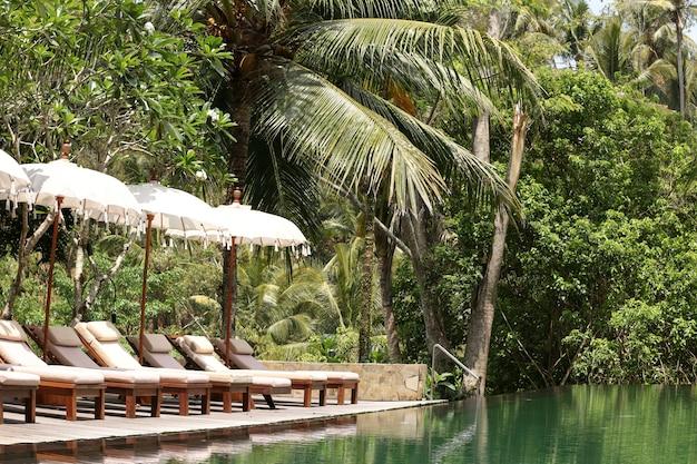 Красивый пейзажный бассейн в тропическом саду, зона отдыха для туристов, отражение пальм в воде, бали, индонезия