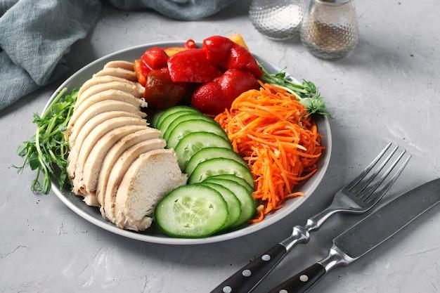 Чаша будды с печеной курицей, свежим огурцом, гороховым микрогрином, морковью и сладким перцем на сером бетонном фоне. концепция чистой и сбалансированной здоровой пищи.
