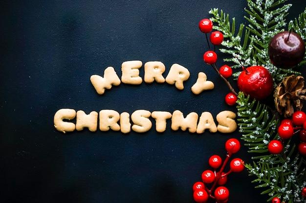クッキーとベリーのクリスマスカード