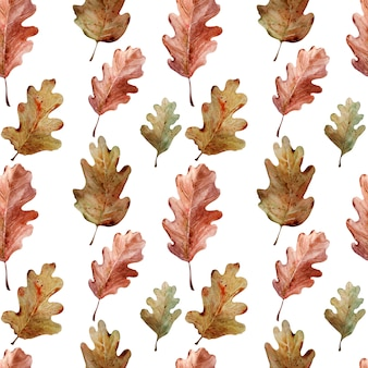 オークの小枝、葉、ドングリの水彩画のパターン