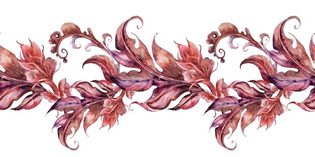 様式化されたアカンサス植物と水彩画の背景