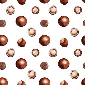 Акварель бесшовный узор с орехами и конфетами с орехами