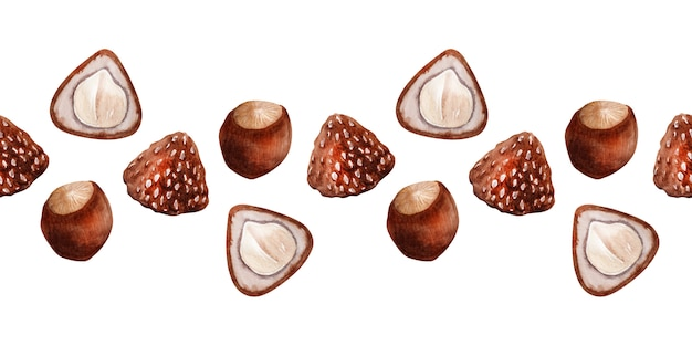 Акварель бесшовные модели с фундуком и конфетами с орехами