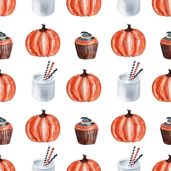 ハロウィーンの料理のお菓子の水彩画