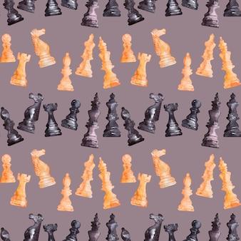 水彩背景画像チェスの駒