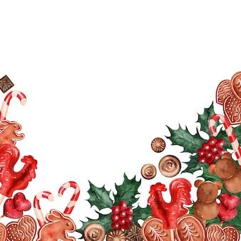 Акварельный фоновый рисунок рождественские праздничные сладости
