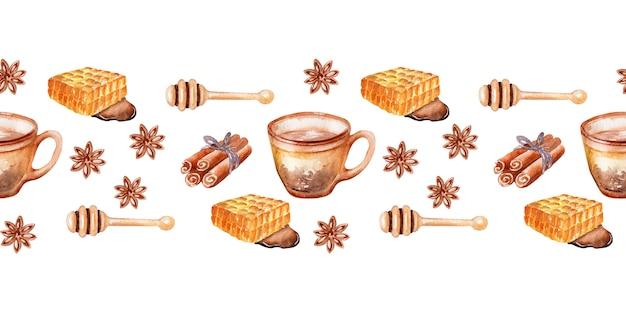 秋をテーマにした要素と水彩の国境香りの良い蜂蜜茶
