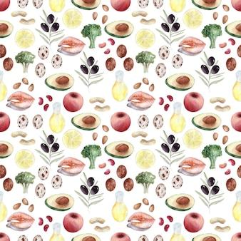 健康食品の水彩背景画像製品