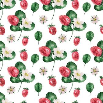 熟したイチゴと水彩画の背景