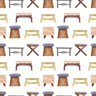 Акварель бесшовный фон мягкие стулья и скамейки. элемент интерьера