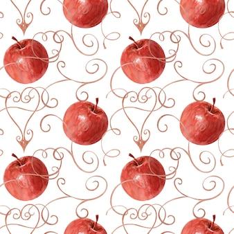 水彩描画リンゴ、葉、フレームの背景