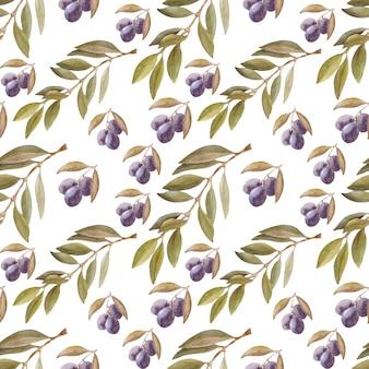 葉、果物、オリーブオイルでシームレスなパターンを描く水彩画。オイルとハーブ