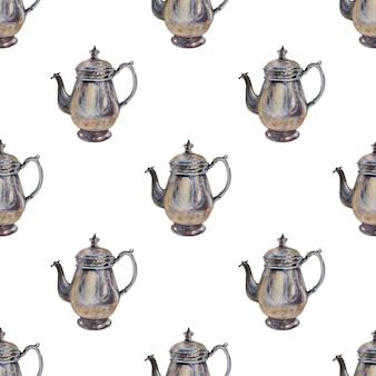 コーヒーメーカーと水彩背景画像