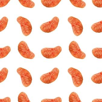 柑橘類と水彩のシームレスパターン