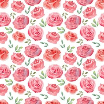 Акварель бесшовные воздушные розы и сердца. праздничный фон