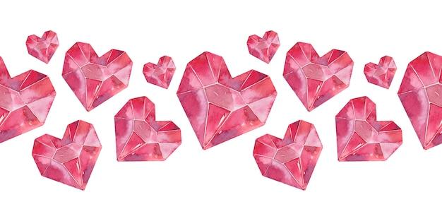 Акварельные бордюры яркие сердечки из кристаллов различных фантазийных форм