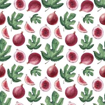 イチジクの葉と果物の水彩画のシームレスパターン