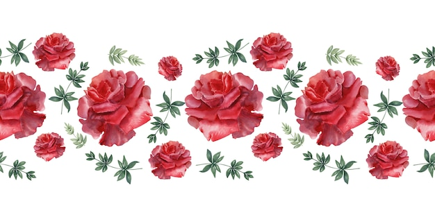 Акварельный бордюр алые праздничные розы