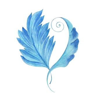 アンティークの様式化された葉のイラストと水彩画の背景