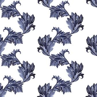 Акварель бесшовный паттерн с стилизованные аканта. листья, веточки и цветы