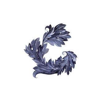 Акварельная композиция со стилизованным растением аканта. листья, веточки и цветы