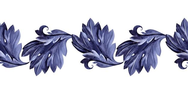 Акварель бесшовная граница со стилизованным растением аканта. листья, веточки и цветы
