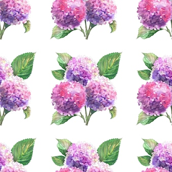 アジサイの枝が咲くと水彩のシームレスなパターン。明るい花序