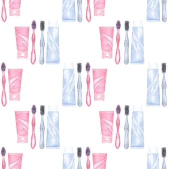 歯科をテーマにした水彩のシームレスなパターン。歯科医療の要素