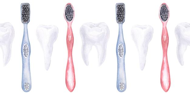 歯科をテーマにした水彩のシームレスな境界線。歯科医療の要素